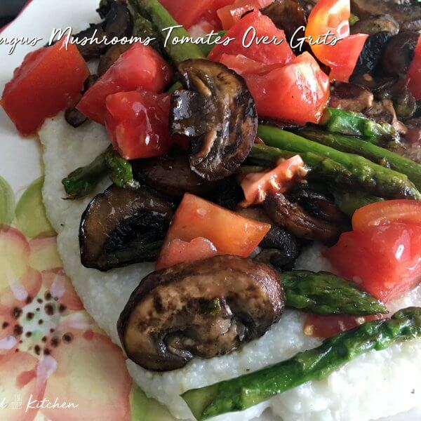 Asparagus, Mushrooms and Tomatoes Over Grits