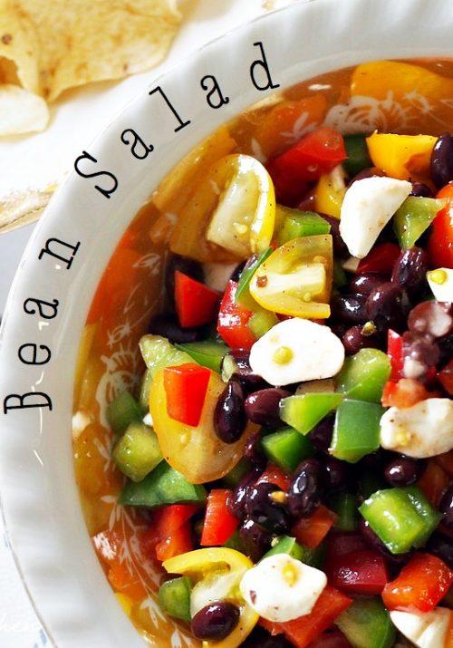 bean salad with mozzarella pearls