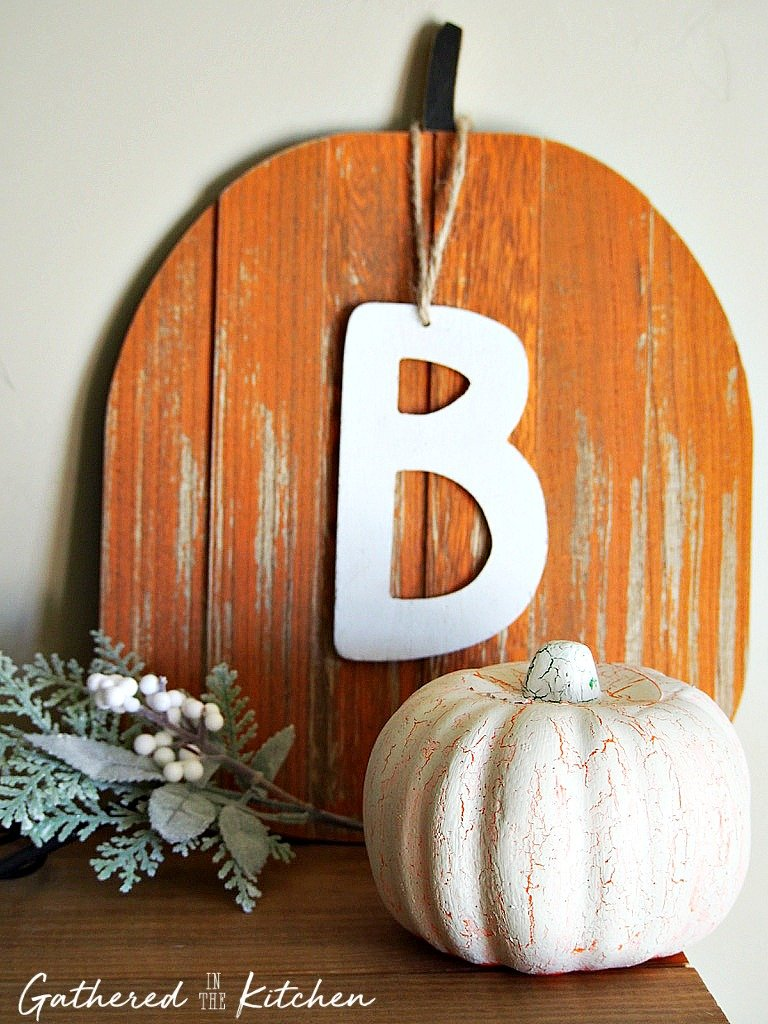 crackle painted pumpkin with wooden pumpkin and letter b