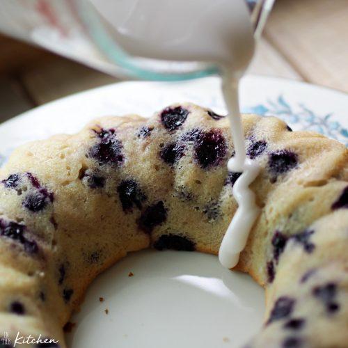Lemon Blueberry Bundt Breakfast Cake with icing