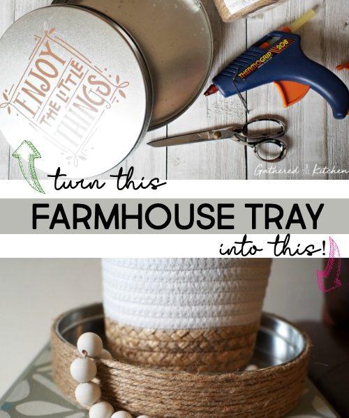 DIY Farmhouse Jute Tray   Repurposed Cookie Tin