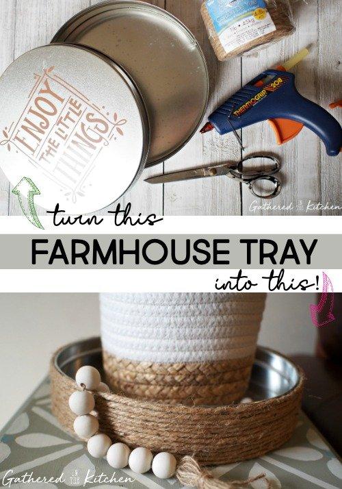 DIY Farmhouse Jute Tray