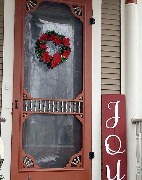 Joy | Christmas Painted Wooden porch Sign
