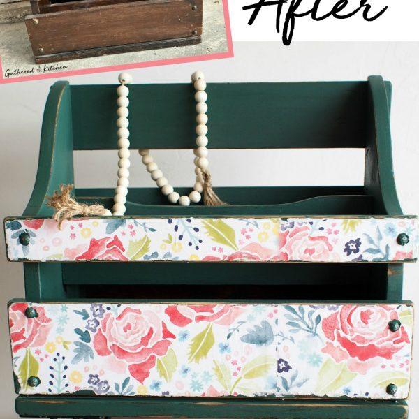 Upcycled Magazine Holder   Before & After