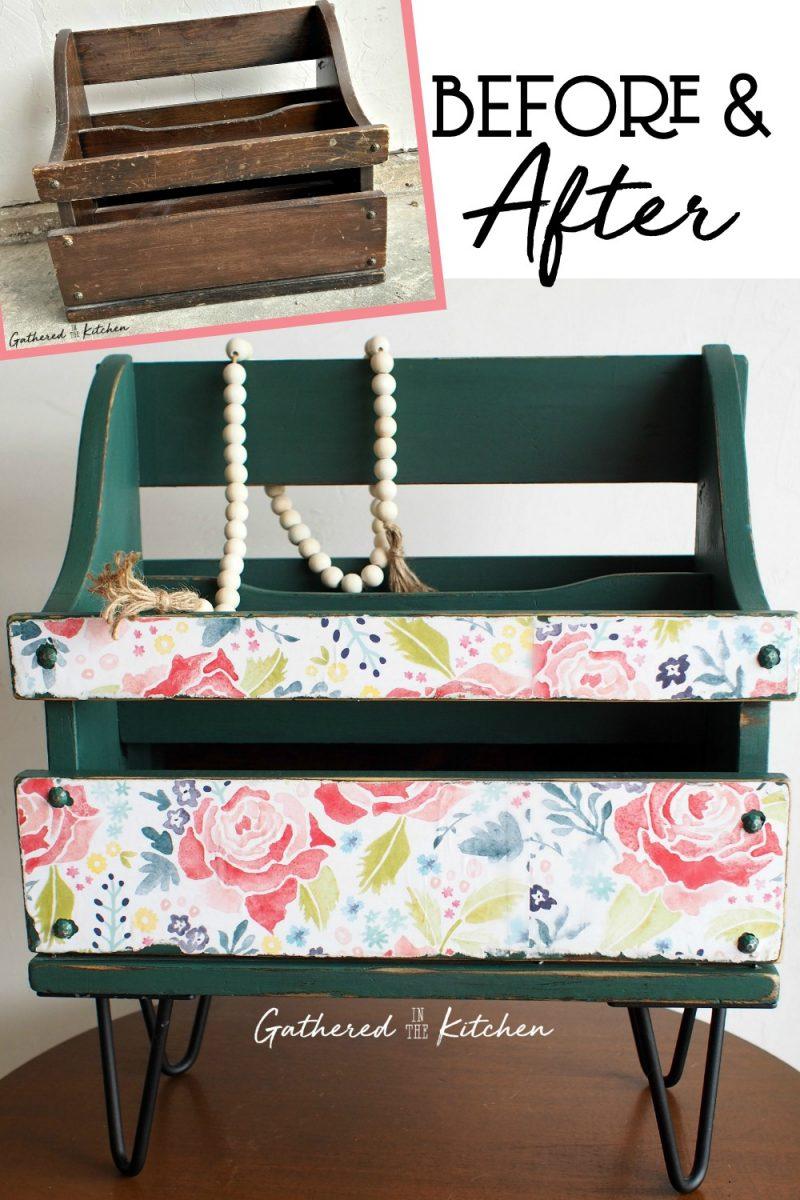 Repurpose an old wooden magazine holder