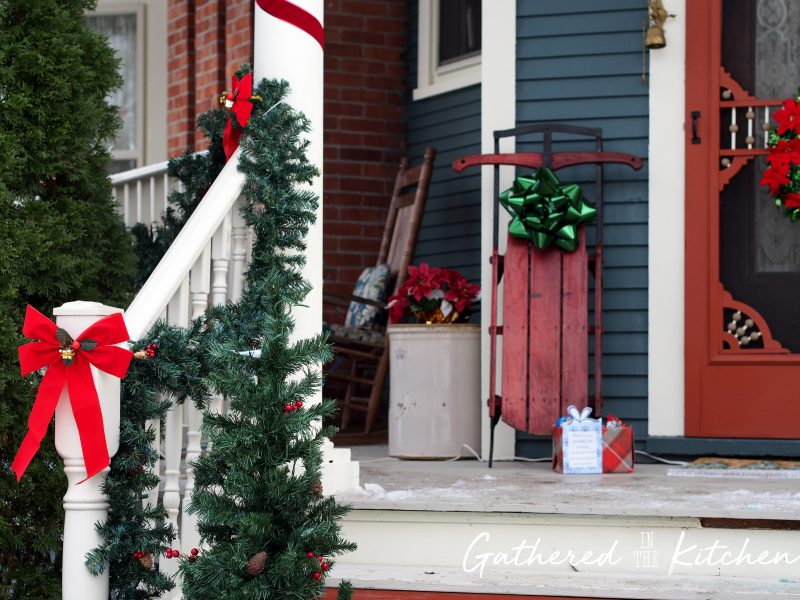 Beautiful porch decorated for Christmas