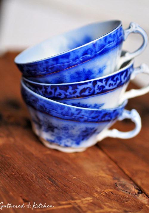 Antique Flow Blue China from the Victorian Era in the 1800s