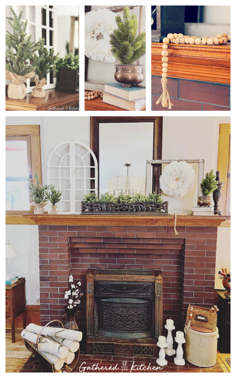 farmhouse themed mantle decor