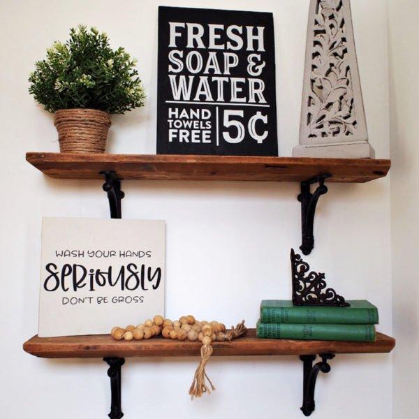 Half Bath Shelving   How To Hang Wood Shelves