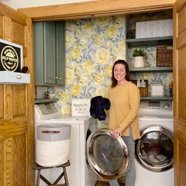 Laundry Room Makeover with Wallpaper | Before & After