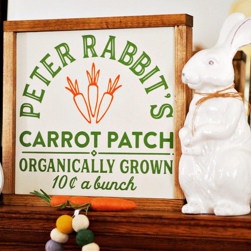 wood sign peter rabbit carrot patch