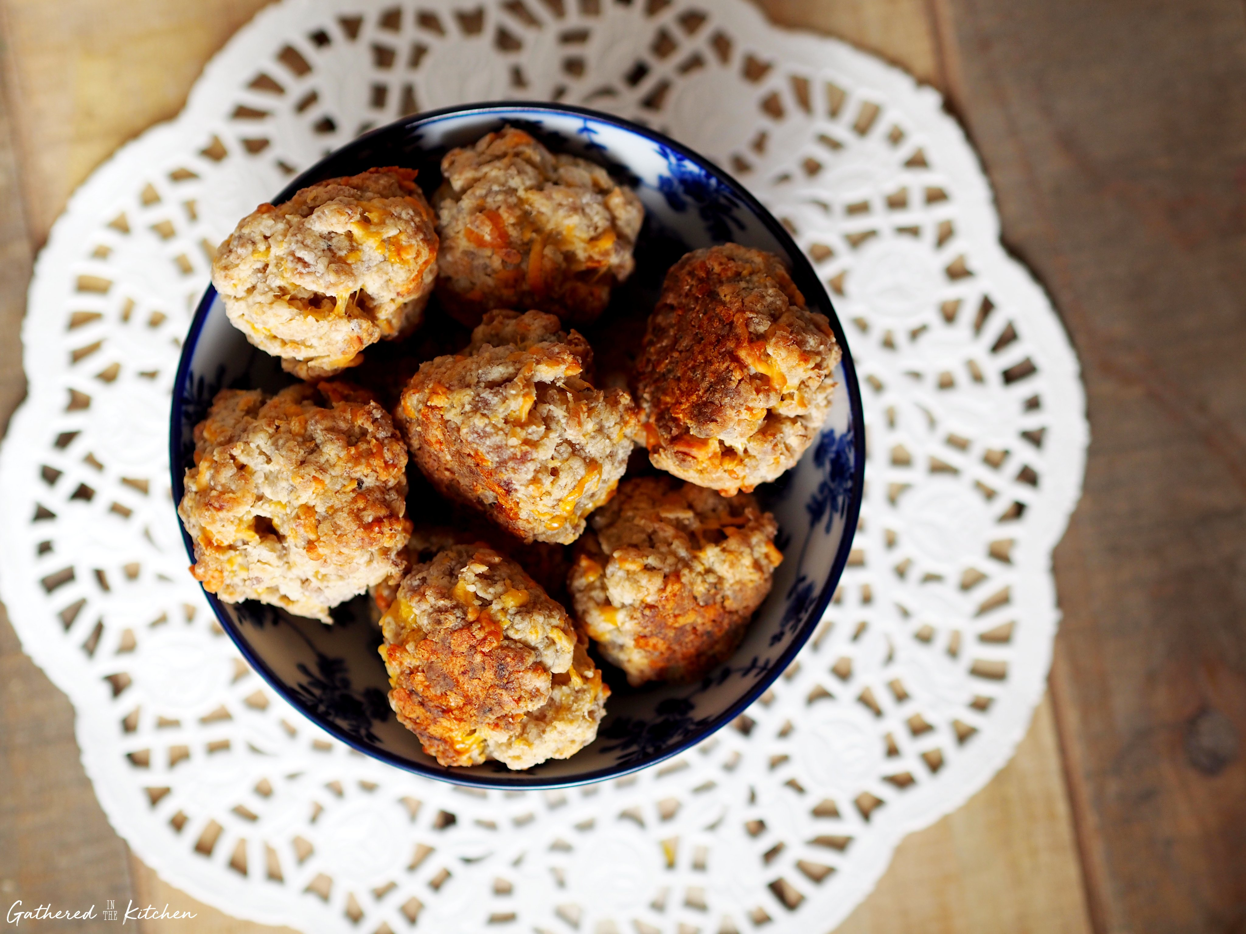 sausage cheese balls in bowl