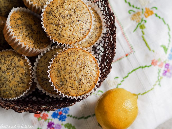 wicker basket with lemon poppy seed muffins and whole lemon