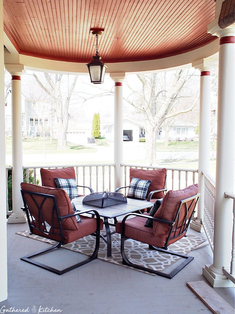 Wrap around front porch with seating area