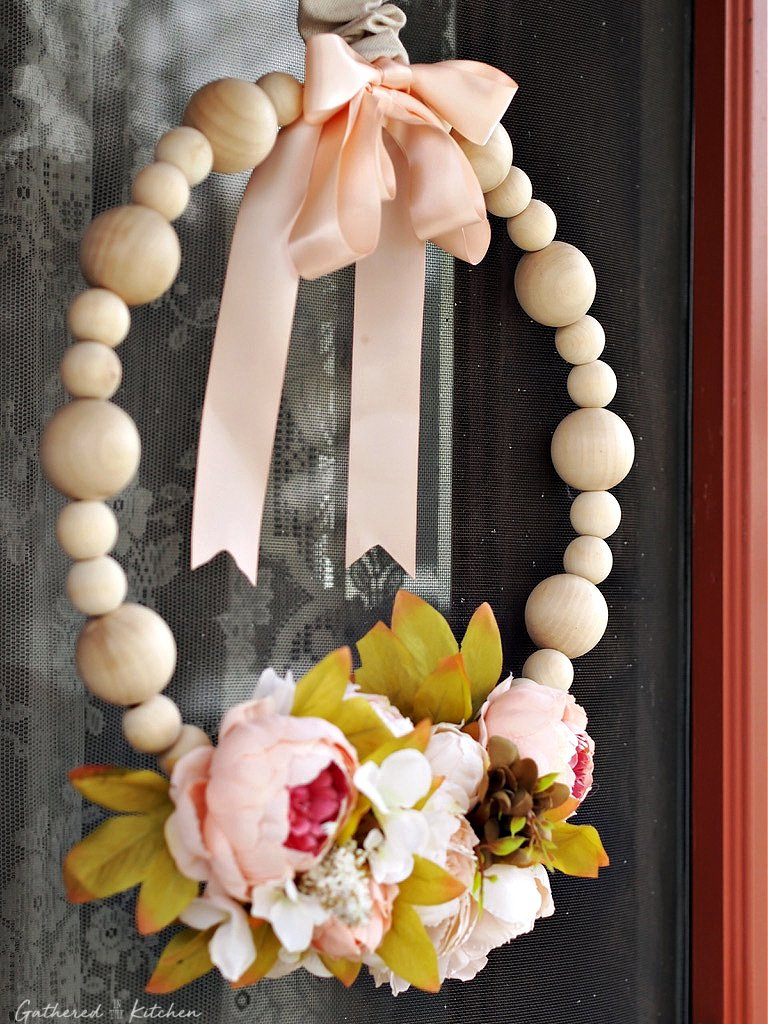 Wooden Bead Wreath with Flowers
