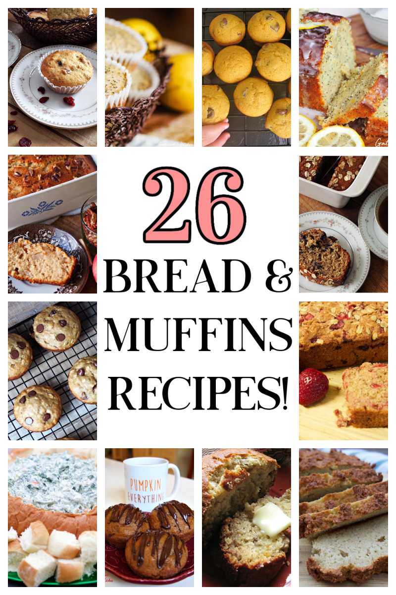 collage of bread and muffin recipes