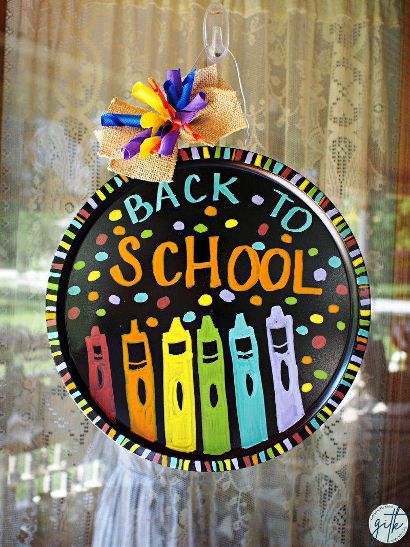Dollar Tree Pizza Pan Wreath - Back To School