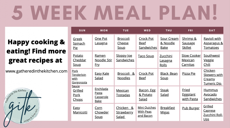 FREE 5 Week Meal Plan   Gathered In The Kitchen