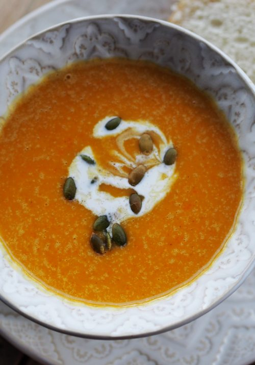 stick blender mixing Copycat Panera Autumn Squash Soup