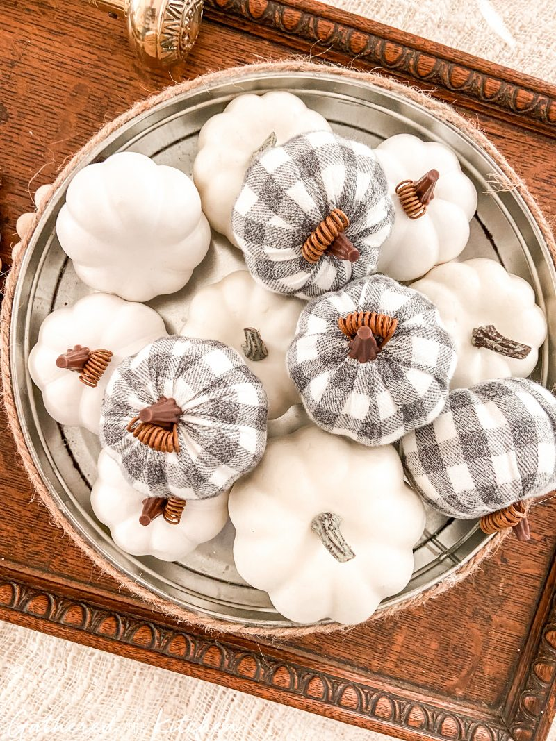 farmhouse fall decor with Wooden Trays and Fabric Pumpkins