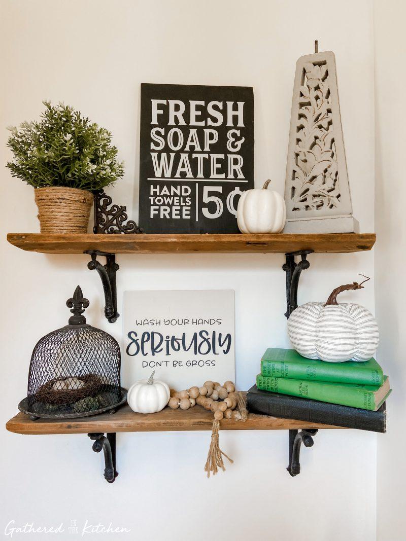 farmhouse bathroom shelf decor for fall