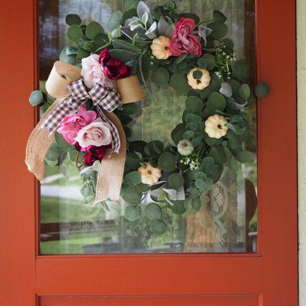 DIY Buffalo Plaid Lambs Ear Wreath with Pumpkins for Fall