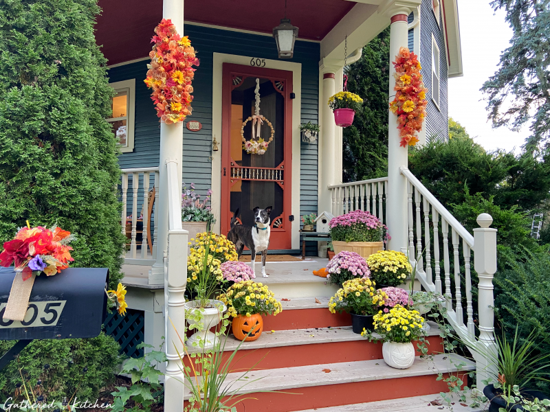 fall front porch decor   gathered in the kitchen
