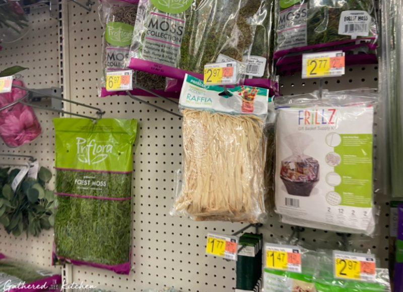 raffia hanging on shelf at Walmart